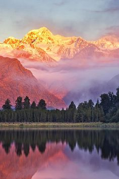 A Lake Of Fire And Stone, Lake Matheson, New Zealand.