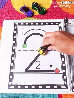 """Number writing sheets to help students form numbers correctly. Students can """"drive"""" around the numbers. Teaching Kids To Write, Teaching Numbers, Numbers Preschool, Writing Numbers, Math Numbers, Preschool Learning, Teaching Math, Maths, Math Stations"""