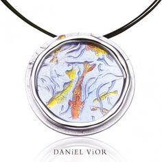 Pendant Koi Blue enamel, Ag.925, Daniel Vior