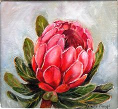 I like the way this flower is painted with the white highlights on the pedals and the vein details on the leaf. Protea Art, Protea Flower, Art Aquarelle, Watercolor Paintings, Watercolours, List Of Paintings, Fabric Artwork, Stencil Painting, Simple Art