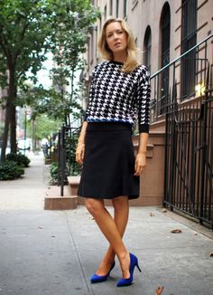 fall fashion trends houndstooth zara sweater cobalt blue suede pumps accent elie tahari skirt a-line the classy cubicle fashion blog for you...