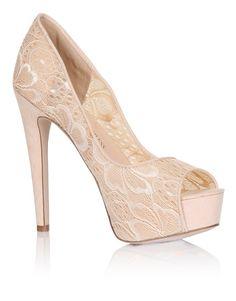 Little Mistress Floral Lace Peep Toe Heels