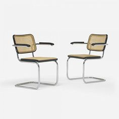 10 Iconic Modern Furnishings That Never Go Out of Style       The Cesca Chair's unique name comes from Marcel Breuer's daughter, Francesca. Cane and chromium-plated tubular steel together create the chair's beloved form, which famously lacks traditional legs. Designed in 1928, the original model also lacked arms, though later models featured them, as shown below. [from Live Auctioneers]