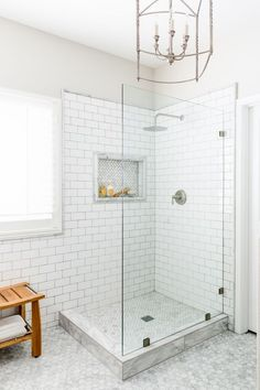 awesome small bathroom ideas corner shower tile designs with Master Bathroom Shower, Shower Niche, Upstairs Bathrooms, Shower Floor, Bathroom Showers, Basement Bathroom, Cozy Bathroom, White Bathrooms, Subway Tile Bathrooms