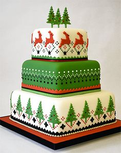 Festive Nordic celebration cake created using FMM Press Ice Pattern 1, Pattern 2 and Pattern 3 tools