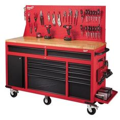 Milwaukee 60 in. 11-Drawer and 1-Door 22 in. D Mobile Workbench with Adjustable-Height, Sliding Pegboard Back Wall, Red and Black-48-22-8560 - The Home Depot