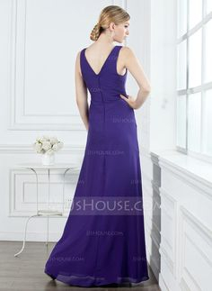 7c69f9f030 A-Line Princess V-neck Floor-Length Chiffon Bridesmaid Dress With Ruffle  Beading (007001053)