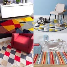 Tapetes coloridos Oppa como destaque na sala de visitas;