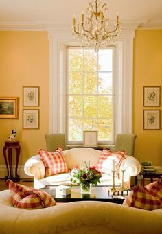 Beautiful Yellow Walls With White Furniture And Red Accents. Tour An  Historic Equestrian Estate In Virginia. I Love Yellow And The Red Plaid.