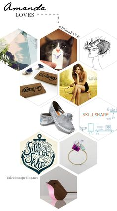 Amanda Loves // Edition 5 [ Rhonna Design Photo App, Smiling Cat, Bloglovin, Come in Go Away door mat, Hart of Dixie, Silver Sequin Toms, Skillshare, Sink or Swim anchor typography, multicoloured multi-stone statement ring, walnut bird in pink] from Kaleidoscope Blog