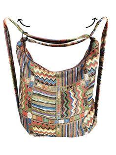 1716bf4dde Convertibile borsa zaino a spalla tessuto di gobelin spalla hobo borsa  viaggio urbano della donna zaino eco vegan hipster
