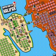 If Halifax was featured in Super Mario Bros. would Dartmouth be World Michael Browne thinks so. Halifax Map, Map Signage, Dartmouth, Super Mario Bros, Cartography, Geek Stuff, Humor, Bead Patterns, Maps