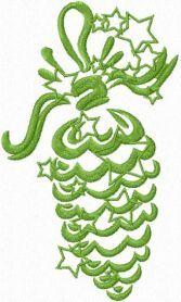 Christmas tree cone free machine embroidery design. Machine embroidery design. www.embroideres.com