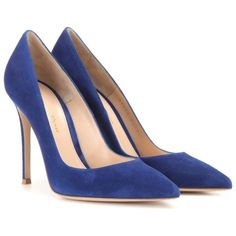 Gianvito Rossi Suede Pumps ($630) ❤ liked on Polyvore featuring shoes, pumps, heels, sapatos, zapatos, blue, gianvito rossi pumps, suede pumps, blue heel shoes and gianvito rossi