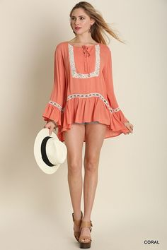 Bell Sleeved Top with Lace Detail