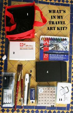 a Travel Art Kit:  Contents:        Aqua Tote (which I'm sorry to say has sprung a leak and is not worth the money)      Koi Watercolor Set with Waterbrush by Sakura      Watercolor Crayons      Tiny Watercolor Moleskine      Pitt Pens      Extra Paintbrushes      White Sharpie      Mechanical Pencil      White Eraser      Alphabet Stamps      Black Stamp Pad
