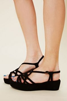 Two-tone strappy suede wedge sandals with platform form. Adjustable ankle strap. So perfect and cute for spring! By Faryl Robin for Free People Suede Upper Rubber Sole Import 1 3/4 wedge heel 1 1/4 platform $49.95 by Free People
