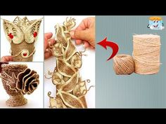 6 Ideas from Jute. Burlap Crafts, Diy Home Crafts, Diy Arts And Crafts, Easy Diy Crafts, Jute Flowers, Diy Flowers, Burlap Roses, Wool Thread, Flower Coloring Pages