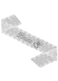 "Our gorgeous embroidered organza lace sash adorned with Bride and a gorgeous large engagement ring is the perfect sash for your pre-wedding events!  Features and Facts:  Handmade  Measures approximately 4 5/8"" wide and 36"" long at longest edge, folded (72"" long overall)  Sparkling Clear Rhinestones"