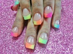 rainbow french nails neon nails