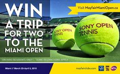 You should enter Win A Trip To The 2015 MIAMI OPEN. There are great prizes and I think one of us could win!