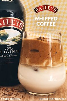 Feeling like a coffee with a twist? Baileys Whipped Coffee will bring the 'wow' factor to your next caffeine treat. To whip up, simply combine 90ml milk and 90ml Baileys in an ice-filled glass. Add 2 tbsp instant coffee, 2 tbsp sugar, and 2 tbsp hot water to a mixing bowl. Stir up for 1-2 minutes until mixture is thick and creamy, spoon the whipped coffee over the Baileys and milk, then simply sit back and enjoy. Dessert Drinks, Fun Drinks, Yummy Drinks, Yummy Food, Beverages, Dessert Recipes, Coffee Drink Recipes, Alcohol Drink Recipes, Coffee Drinks