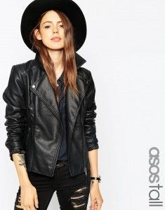 ASOS TALL Ultimate Biker Jacket With Stitch Detail - Black