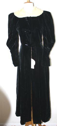 VINTAGE Victorian Look Black Velvet Ermine Trim Coat XS S | eBay