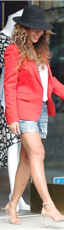 Beyonce Knowles: Jacket – Givenchy  Shorts – Rag & Bone  Shoes – Stuart Weitzman  Hat – Maison Michel Maison