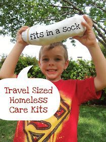 Kits of helpful supplies for the homeless that fit in a sock. Could also go even further and fit things into backpacks.