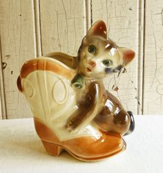 Royal Copley Cat with Cowboy Boot Planter  - 1950s