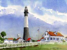 Tybee Island Lighthouse . watercolor . illustration