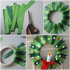 Christmas Crafts for kids to make Corona de navida - christmascrafts Paper Christmas Decorations, Christmas Crafts For Kids To Make, Christmas Activities, Handmade Christmas, Holiday Crafts, Christmas Diy, Christmas Wreaths, Christmas Ornaments, Wreath Crafts
