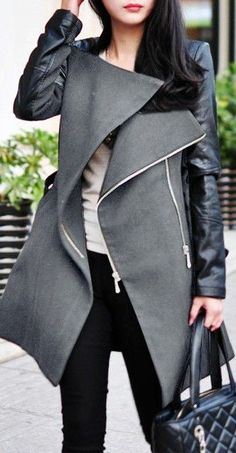 I live the collar on this jacket it's edgy but professional!  Grey PU Sleeve Coat