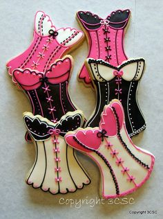 Custom Decorated Corset Cookie for Bridal Showers Lingerie by 3CSC, $31.99