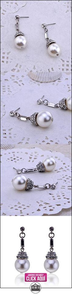 Lureme Elegante Plata Tone with Crystals Redondo Pearl soltar Aretes for Women (02002151-1)  ✿ Joyas para mujer - Las mejores ofertas ✿ ▬► Ver oferta: https://comprar.io/goto/B00FXM9TZ2
