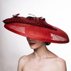 Bord large chapeau de paille. Kentucky Derby Hat. Sisal rouge.