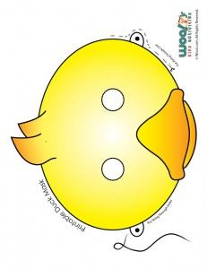 Make Way for Ducklings Printables. Several Free Printables and Worksheets here. {Ages 3 - 8} This one is Cute Yellow and Orange Duckling Mask Printable