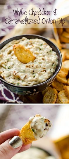 White Cheddar & Cara White Cheddar & Caramelized Onion Dip - Krafted Koch - A flavorful dip recipe loaded with caramelized onions chives and extra sharp white cheddar for an appetizer everyone will love! Carmelized Onion Dip, Caramelized Onions, Dip Recipes, Snack Recipes, Cooking Recipes, Yummy Appetizers, Appetizer Recipes, Dips, White Cheddar