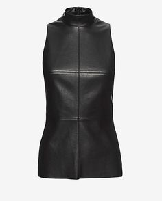 Bailey 44 EXCLUSIVE Faux Leather Turtleneck: A faux leather edgy exterior with a jersey stretch at back. Turtleneck. Sleeveless. Zipper closure at back. Raw edge hem. In black. Fabric: 94% rayon/6% spandex Contrast: 70% polyurethane/30% nylon  Model Measurements: Height 5'10 1/2; Waist 25 ; Bust 33 ...