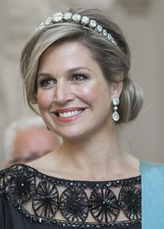Gala Dinner at Christiansborg Palace on the eve of The 75th Birthday of Queen Margrethe of Denmark on April 15, 2015 in Copenhagen, Denmark. Queen Maxima is wearing the Rose Cut Diamond Bandeau