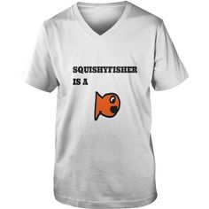 Squishyfisher is a fish! - Mens V-Neck T-Shirt by Canvas  #gift #ideas #Popular #Everything #Videos #Shop #Animals #pets #Architecture #Art #Cars #motorcycles #Celebrities #DIY #crafts #Design #Education #Entertainment #Food #drink #Gardening #Geek #Hair #beauty #Health #fitness #History #Holidays #events #Home decor #Humor #Illustrations #posters #Kids #parenting #Men #Outdoors #Photography #Products #Quotes #Science #nature #Sports #Tattoos #Technology #Travel #Weddings #Women