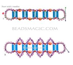 Free pattern for bracelet Shannon - 2-----------------------U need: tila beads bicone beads 4 mm seed beads 11/0 delica seed  beads 11/0