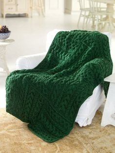 Yarnspirations.com - Caron Cabled Cubed Throw - Patterns  | Yarnspirations