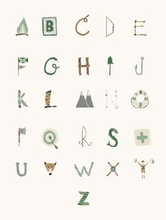 ABC with camping theme by Danielle Kroll. Perfect, way to incorporate letters into the classroom. Typography Letters, Typography Design, Tachisme, Camping Theme, Camping Nursery, Woodsy Nursery, Fox Nursery, Alphabet Art, Monogram
