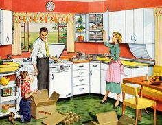 The new kitchen.: Look out the window at the innocent world. Maybe that's the appeal of these 1950s' paintings? Everybody is happy, prosperous, and young. Note by Roger Carrier