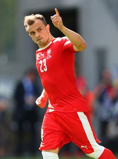 #EURO2016 Xherdan Shaqiri of Switzerland celebrates scoring his penalty during the UEFA EURO 2016 Round of 16 match between Switzerland v Poland at Stade...