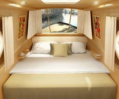 A very smart bedroom for a narrowboat - To connect with us, and our community… Barge Interior, Interior Windows, Interior Design, Canal Boat Interior, Sailboat Interior, Boot Dekor, Canal Barge, Narrowboat Interiors, Living On A Boat