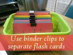 Binder Clip to Organizing Flash Cards #teaching #organizing