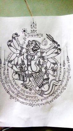 Hanuman sak yant design Hanuman Tattoo, Yantra Tattoo, Sak Yant Tattoo, Thai Tattoo, Khmer Tattoo, Holy Tattoos, Leg Tattoos, Body Art Tattoos, Thailand Tattoo